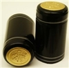 Black Shrink Capsules w/ Silver Stripes & Gold Top - 100 Pack