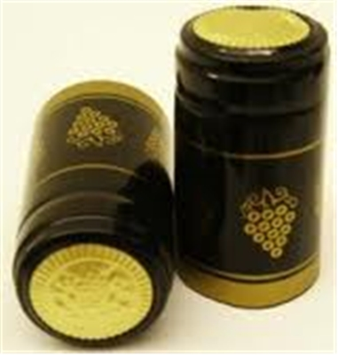 Black Shrink Capsules w/ Gold Grapes & Gold Top - 100 Pack